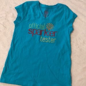 "Other - Girls embroidered ""sparkler tester"" tee 🎇"